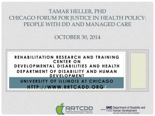 Rehabilitation Research and Training Center on  Developmental Disabilities and Health