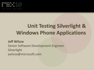 Unit Testing Silverlight  Windows Phone Applications