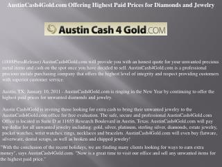AustinCash4Gold.com Offering Highest Paid Prices for Diamond