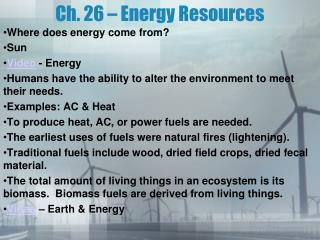 Ch. 26 – Energy Resources