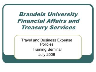Brandeis University Financial Affairs and Treasury Services
