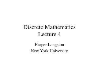 Discrete Mathematics Lecture 4