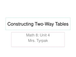Constructing Two-Way Tables