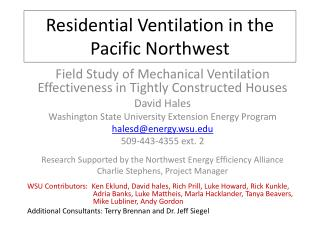Residential Ventilation in the  P acific Northwest