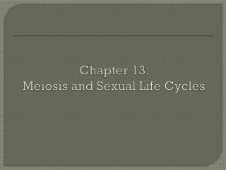 Chapter 13:  Meiosis and Sexual Life Cycles