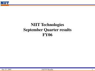 NIIT Technologies  September Quarter results   FY06