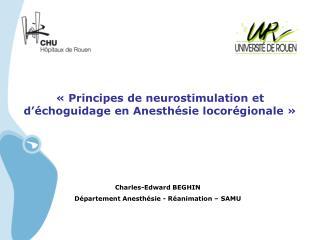 «Principes de neurostimulation et d'échoguidage en Anesthésie locorégionale»