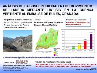 Jorge David Jiménez Perálvarez Becario FPI. Dpto. Ingeniería Civil Área de Ingeniería del Terreno