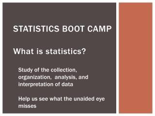Statistics Boot Camp