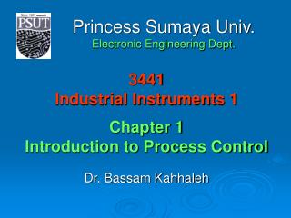 3441 Industrial Instruments 1 Chapter 1 Introduction to Process Control