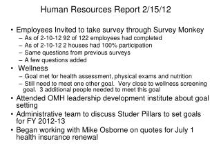 Human Resources Report 2/15/12