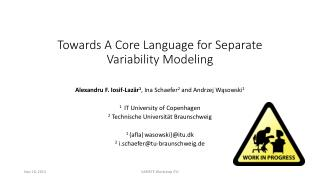 Towards A Core Language for Separate Variability Modeling