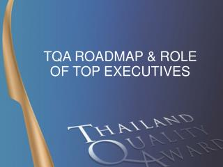 TQA ROADMAP & ROLE OF TOP EXECUTIVES