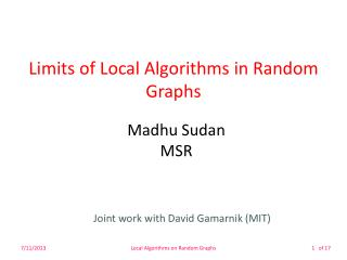 Limits of Local Algorithms in Random Graphs