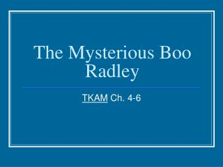 The Mysterious Boo Radley