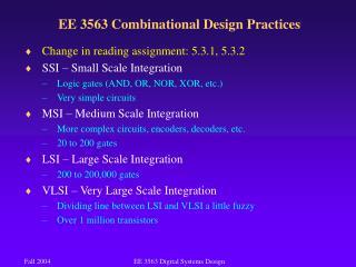 EE 3563 Combinational Design Practices