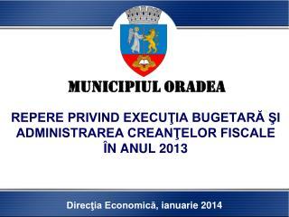 REPERE PRIVIND EXECUŢIA BUGETARĂ ŞI ADMINISTRAREA CREANŢELOR FISCALE ÎN ANUL 201 3