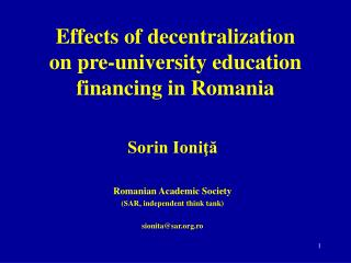 Effects of decentralization on pre-university education financing in Romania