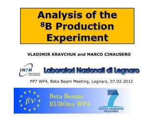 Analysis of the  8 B Production Experiment
