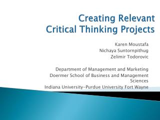Creating Relevant  Critical Thinking Projects