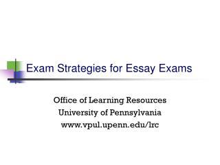 Exam Strategies for Essay Exams