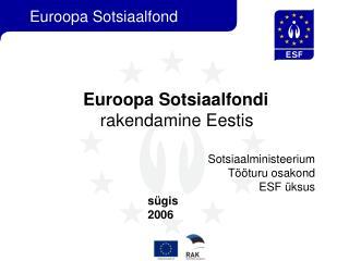 Euroopa Sotsiaalfondi   rakendamine Eestis