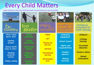 Every Child Matters           with thanks to the City of Portsmouth for permission to use the slide