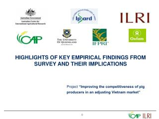 HIGHLIGHTS OF KEY EMPIRICAL FINDINGS FROM SURVEY AND THEIR IMPLICATIONS