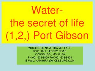 Water-  the secret of life (1,2,) Port Gibson