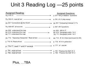 Unit 3 Reading Log —25 points
