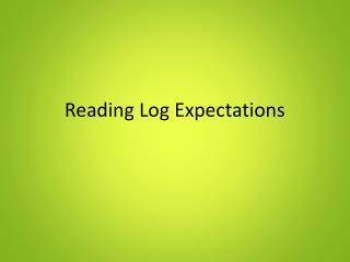 Reading Log Expectations