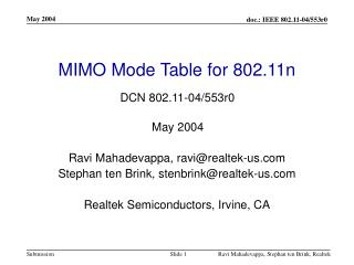 MIMO Mode Table for 802.11n