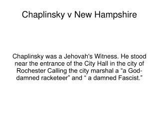Chaplinsky v New Hampshire