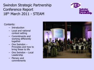 Swindon Strategic Partnership  Conference Report 18 th  March 2011 - STEAM