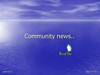 Community news..