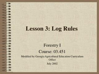 Lesson 3: Log Rules