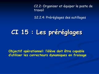 CI 15 : Les préréglages
