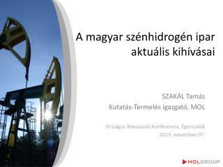 A magyar szénhidrogén ipar  aktuális kihívásai