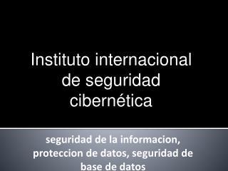 Instituto internacional de seguridad cibernética