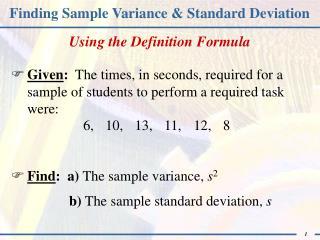 Finding Sample Variance & Standard Deviation