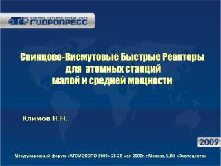 Свинцово-Висмутовые Быстрые Реакторы  для  атомных станций малой и средней мощности