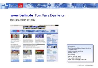 berlin.de  -  Four Years Experience
