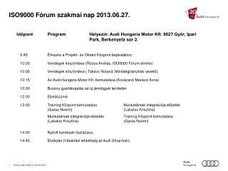 ISO9000 Fórum szakmai nap 2013.06.27.