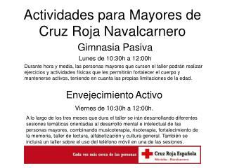 Actividades para Mayores de Cruz Roja Navalcarnero