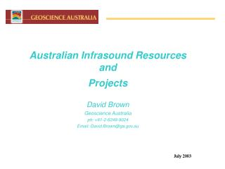Australian Infrasound Resources and Projects