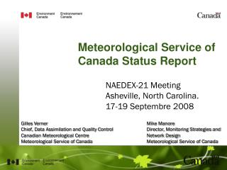 Meteorological Service of Canada Status Report