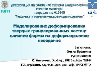 Выполнила: Ольга Бразгина Руководители:  С.  Антонюк.  Dr.- Ing . , SPE  Institute , TUHH