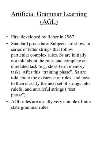 Artificial Grammar Learning AGL