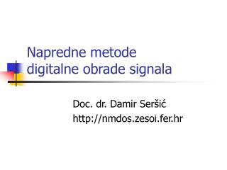 Napredne metode  digitalne obrade signala