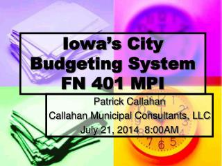 Iowa's  City Budgeting  System FN 401 MPI